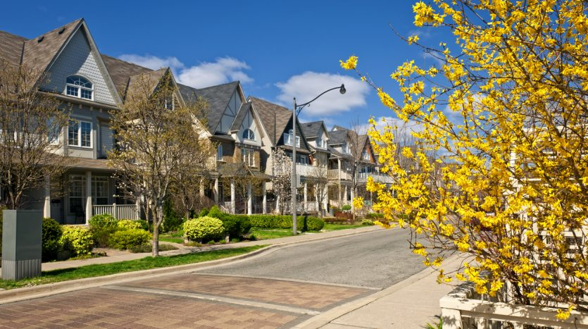 Houses on residential street in spring